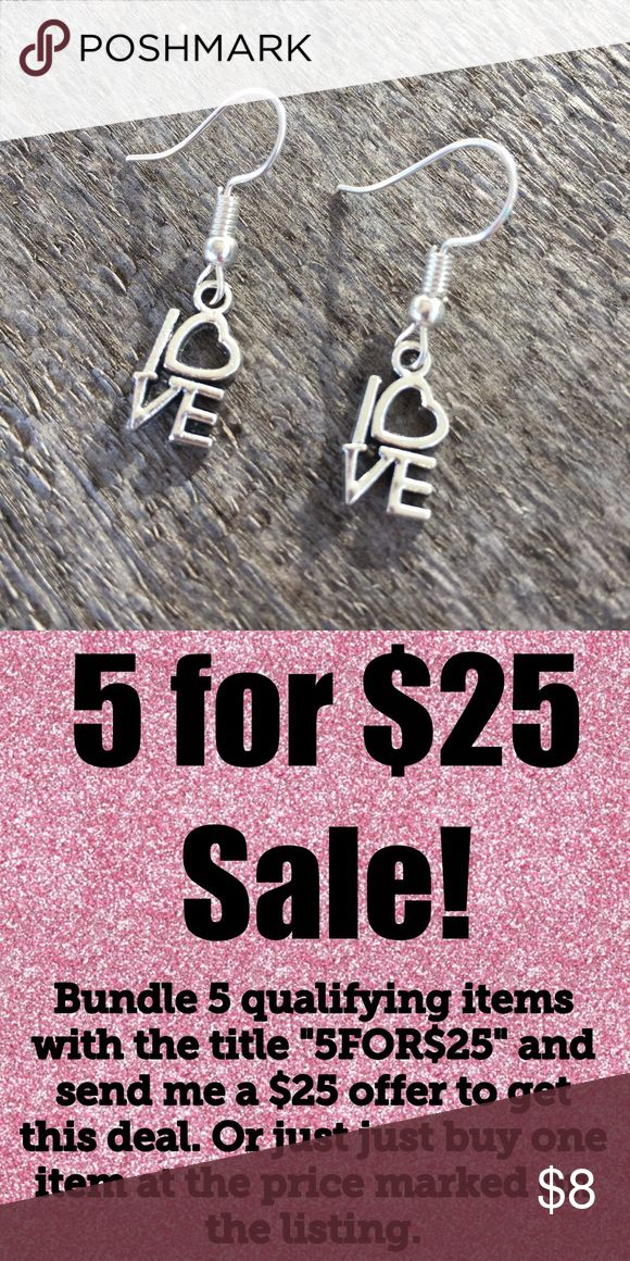 $3 Bundle only - LOVE Earrings Valentines Jewelry Priced for bundle add on only....