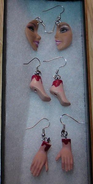 Be My Bloody Valentine! Barbie Feet and Barbie Hands earrings!Dexter Ice Truck k...