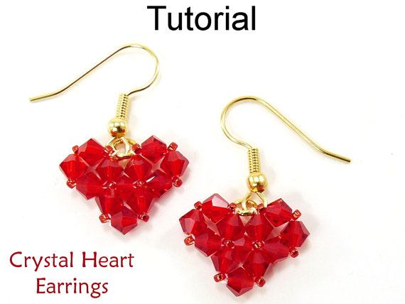 Crystal Heart Earrings PDF Beading Tutorial  This detailed beading pattern will ...