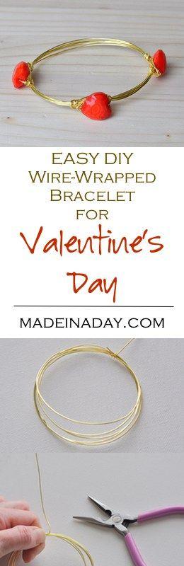 DIY Heart Wire Bracelet Valentines Day madeinaday.com