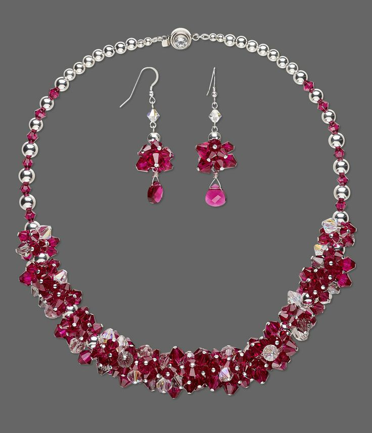 Gorgeous Valentine's Day Necklace and Earring Set with #SWAROVSKI ELEMENTS and S...