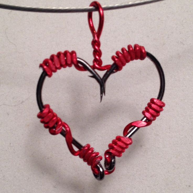 Handmade Wire Wrapped Fish Hook Necklace - Heart  Pendant - Real Fishing Hooks -...