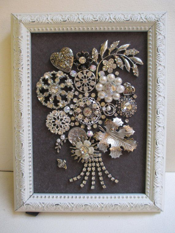 Jeweled Framed Art Jewelry Flower Bouquet Valentine Hearts
