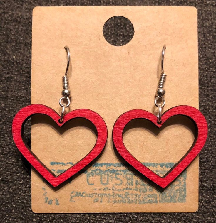 Laser cut heart earrings for Valentines Day. Just $12 with free shipping!