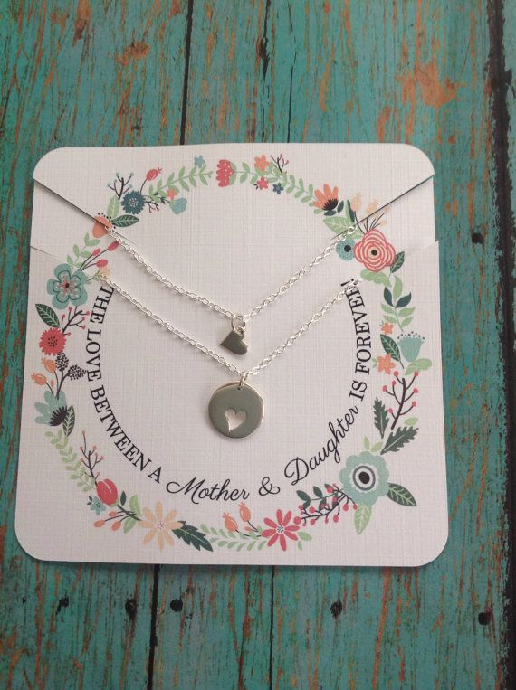 Mother Daughter Jewelry, Mother Daughter Necklace, Mother Daughter Set, Heart Cu...