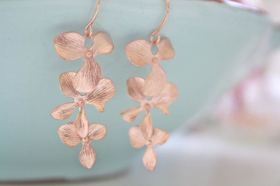 Orchid Dangle Earrings Rose Gold Earrings by AvaHopeDesigns, $20.00
