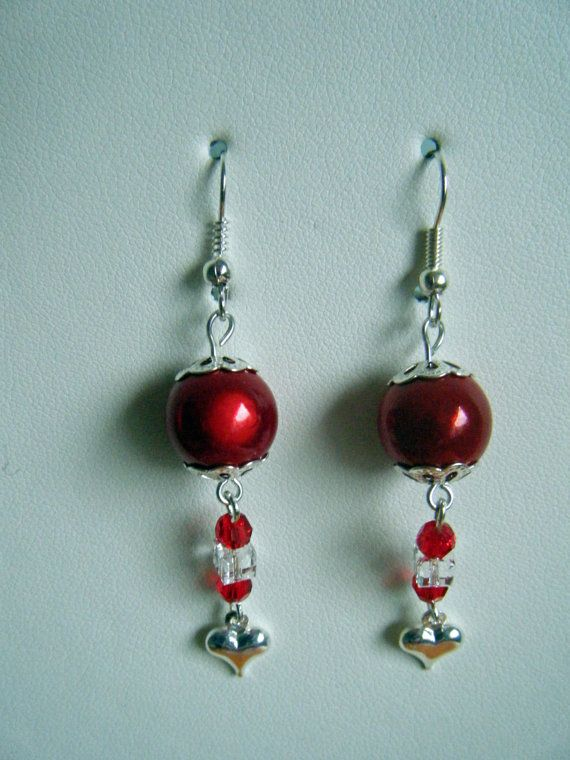 Red earrings for Valentine's Day - with red beads, red and clear crystals an...