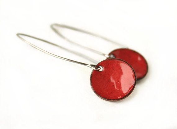 Red enamel earrings torch fired enamel sterling by JudysDesigns, $25.00