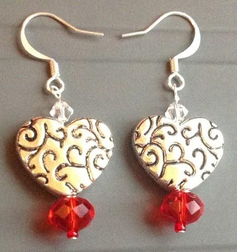 Silver heart Valentines Day earrings | Bnbcrafts - Jewelry on ArtFire