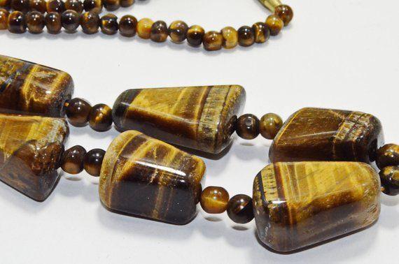 Tiger Eye Bead Statement Necklace Brown Gemstone Jewelry Ethnic Unisex Genuine G...