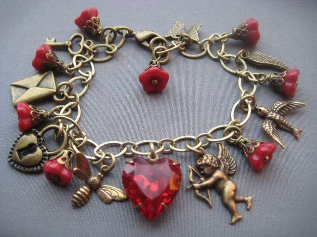 Valentine Jewelry - Valentine Bracelet - Heart Bracelet - Victorian Bracelet - R...