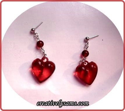 Valentine's Day Earrings ~ Very easy to make earrings to give as a gift or w...