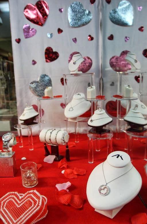 Valentine's Day jewelry display