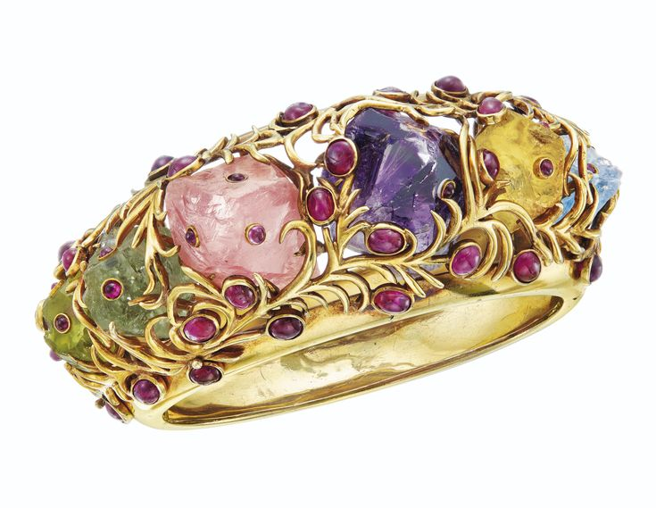A RARE MULTI-GEM AND GOLD BANGLE BRACELET, JEAN SCHLUMBERGER | Jewelry, bracelet...