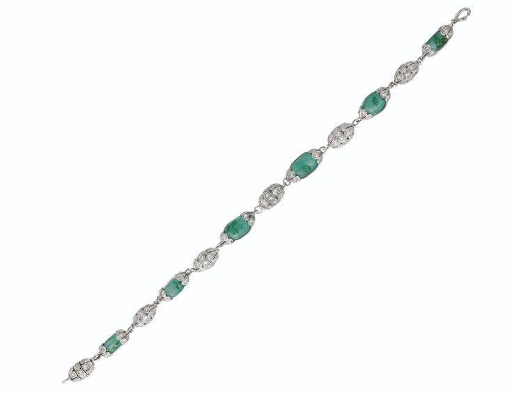 ANTIQUE EMERALD BEAD AND DIAMOND BRACELET | bracelet, diamond | Christie's