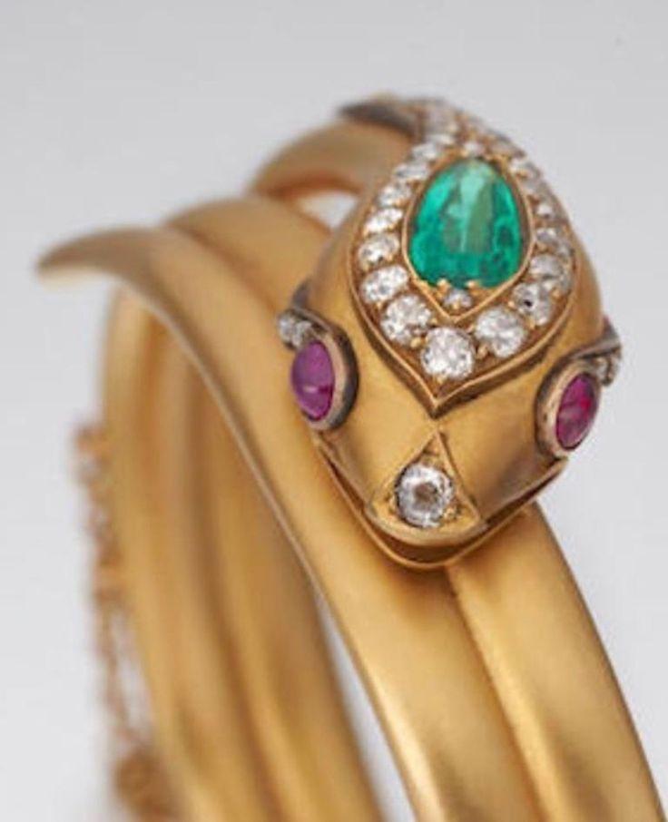 Antique Emerald Ruby and Diamond Snake Bangle Bracelet