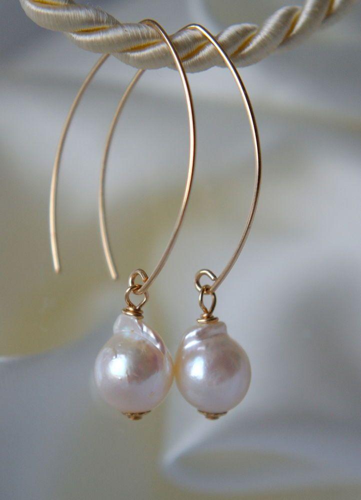 Barock Akoya Perlen Ohrringe Gold Filled Baroque Akoya Pearl Earrings