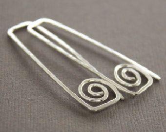 Retangular gancho brincos de prata com redemoinhos - brincos estilo grego