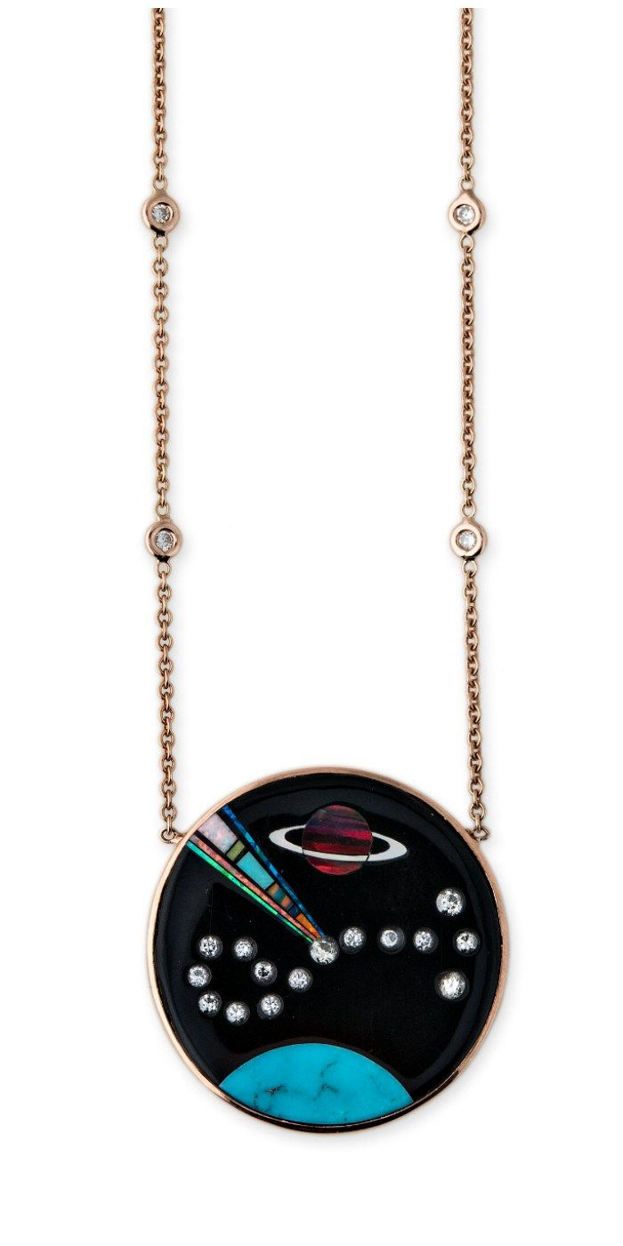 A gemstone inlay pendant from Jacquie Aiche's Galaxy collection! Turquoise, ...