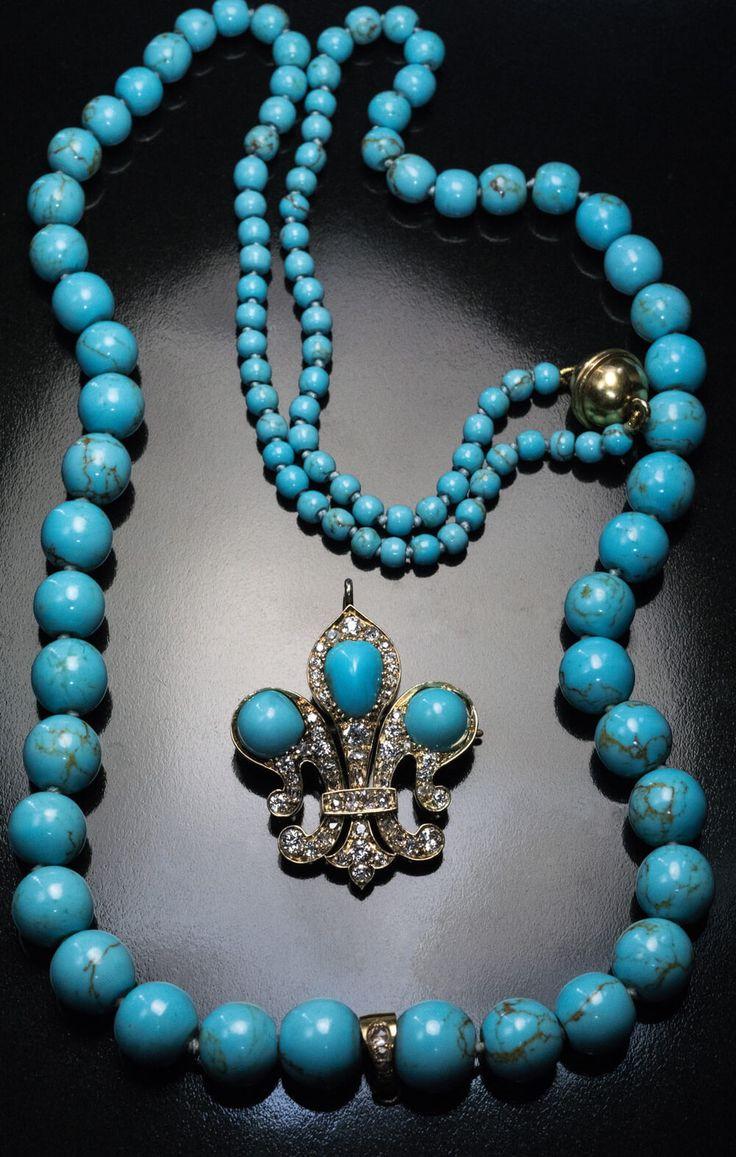 Antique Russian Turquoise Diamond Gold Fleur de Lis Necklace. This antique Victo...