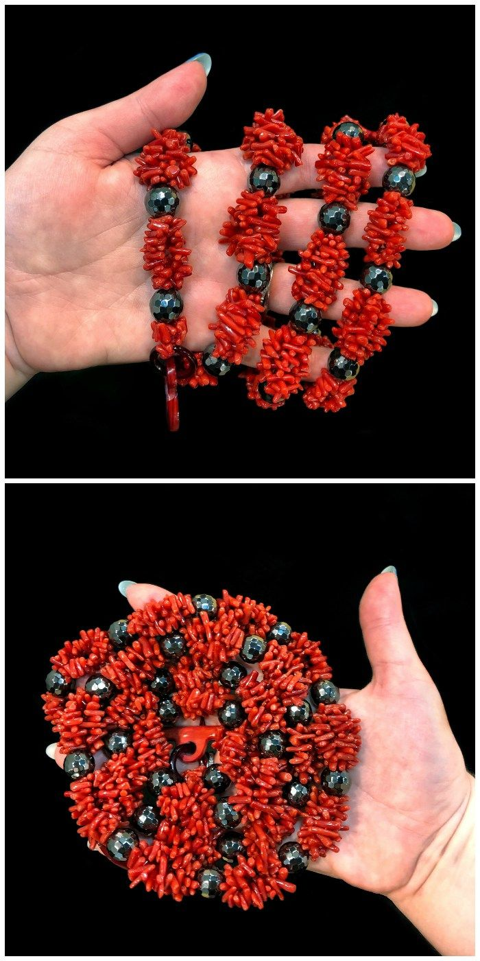 Coral and hematite necklace by Rajola!! Coral is traditional in Italian jewelry ...