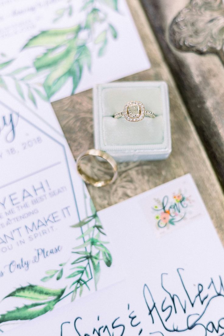 Gorgeous wedding rings from the Green and Grey Garden Wedding featured on The Bu...