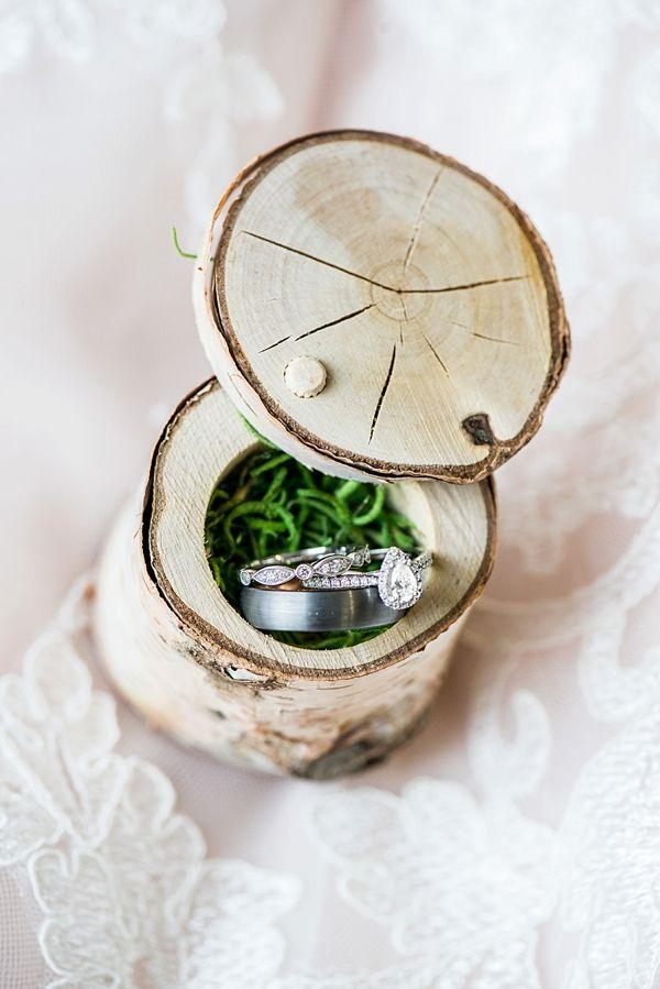 Rustic birch wood ring box