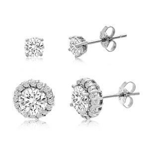 Lesa Michele Cubic Zirconia 4mm Stud and 6mm Halo Stud Duo Earring Set in Sterli...