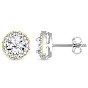 Diamond Milgrain Filigree 1/10ctw Stud Earrings in Yellow Plated Sterling Silver