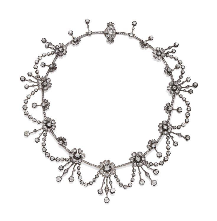 COLLIER FIN XIXÈME DIAMANTS   Jewelry, necklace   Christie's