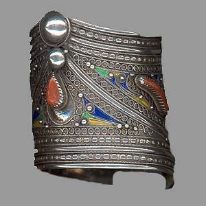 Morocco | Contemporary cuff; silver, coral and enamel.