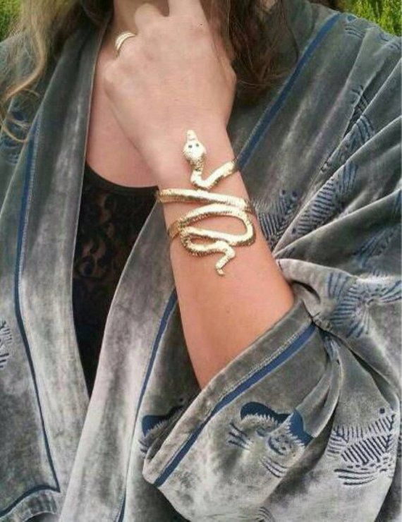 Snake cuff bracelet, gold snake bracelet, snake arm cuff, boho cuff bracelet, ar...