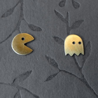 Brass Pac-Man earring set From PicaPicaPress on Etsy