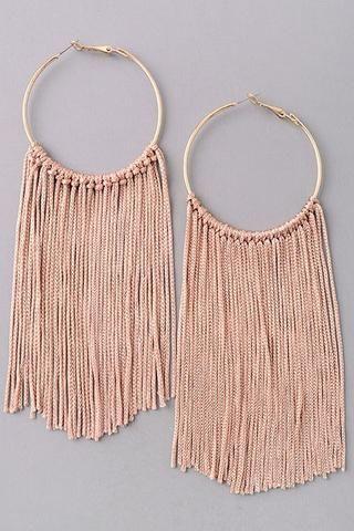 Cabo Earrings. Fringe earrings. Hoop earrings.