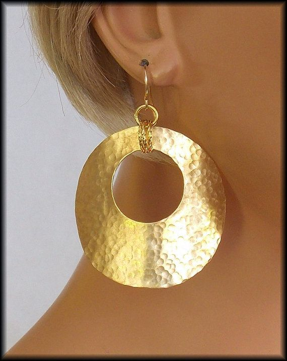 GYPSY Handforged Hammered Large Bronze by sandrawebsterjewelry. Hoops are about ...