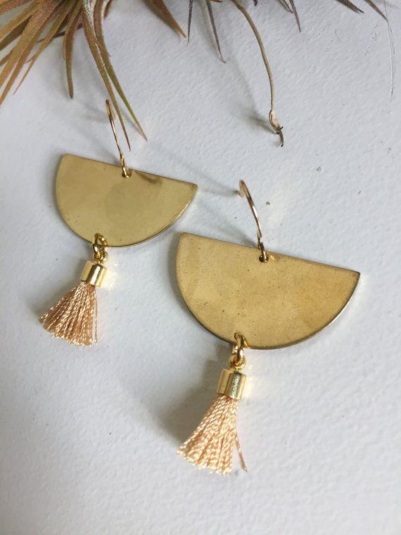 Half Moon Fringe earrings by AyumiAngelJewelry on Etsy
