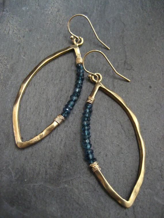 Marquis earrings blue topaz blue dangle marquis hoops gold | Etsy