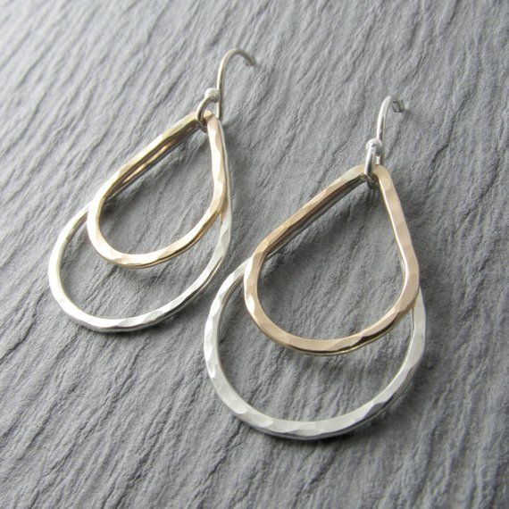 Silver and Gold Earrings Teardrop Earrings Mixed Metal Dangle Earrings Minimalis...