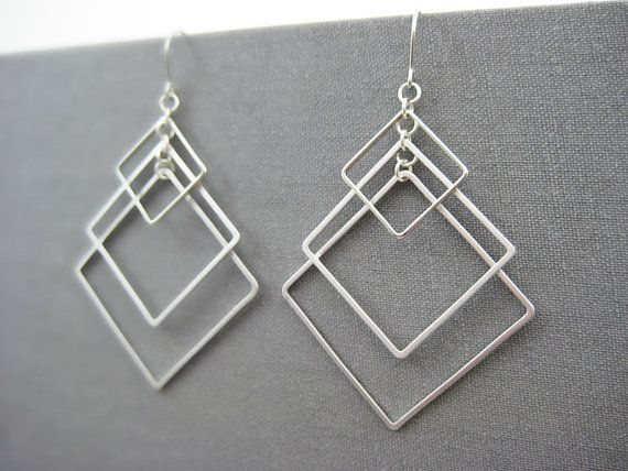 Square Earrings - modern minimalist art deco earrings, silver geometric architec...