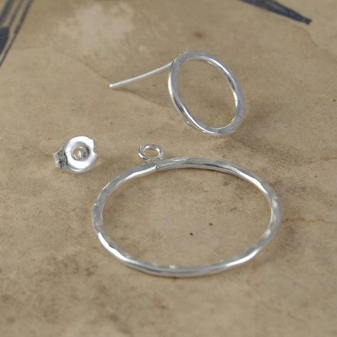 Sterling Silver Ear Jackets-Double Circle Two Way