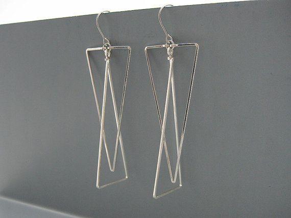 Triangle Earrings - long silver geometric minimalist, modern minimal earrings in...