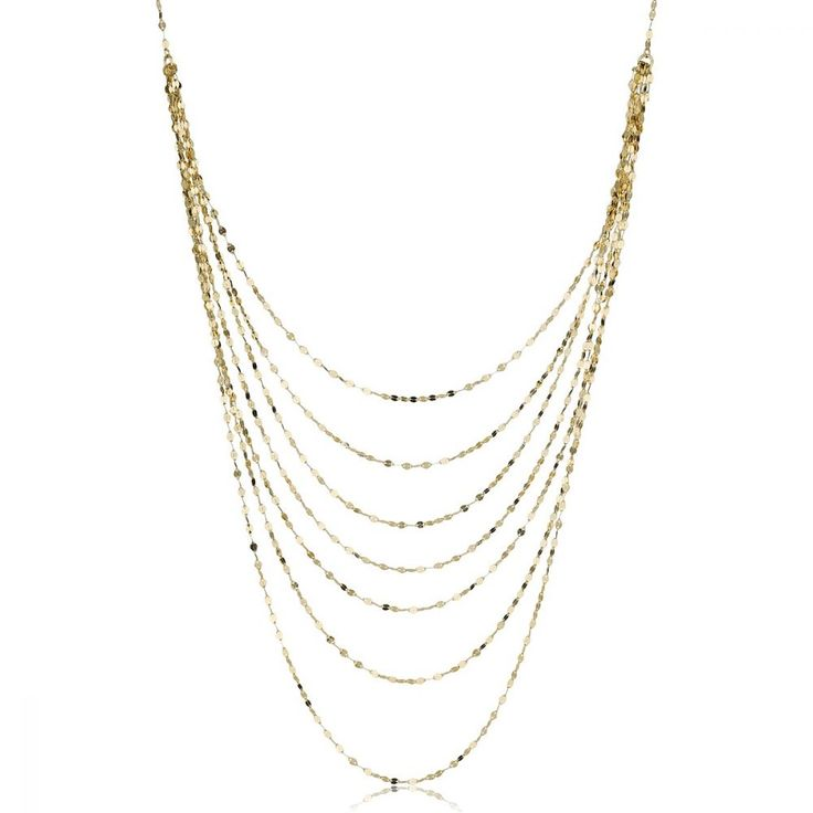 7-Layer Mirror Link Fashion Necklace in 14k Yellow Gold 18