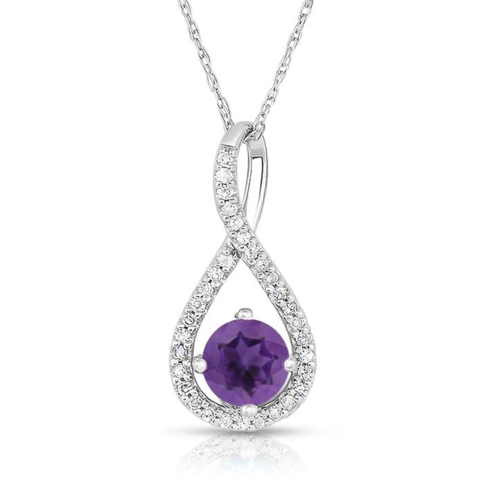Amethyst & Diamond Infinity Drop Pendant in Sterling Silver