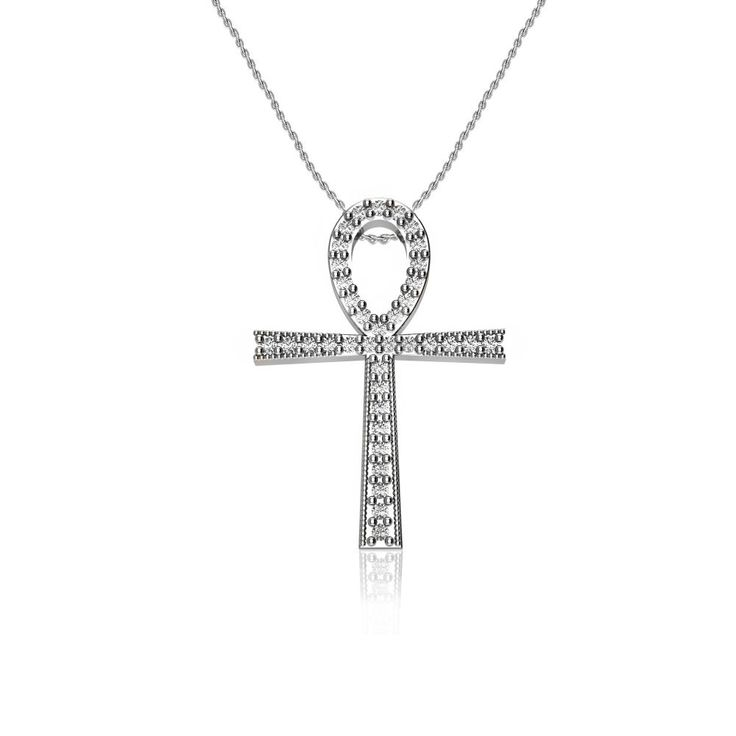 Ankh Cross Religious Diamond Pendant in 10k White Gold