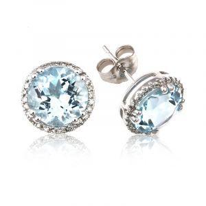 Aquamarine & Diamond Halo Stud Earrings in 14k White Gold