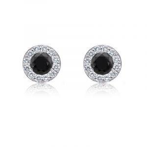Black Diamond 1/4ct. t.w. Halo Stud Earrings in 14k White Gold