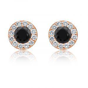 Black Diamond 2ct. t.w. Halo Stud Earrings in 14k Rose Gold