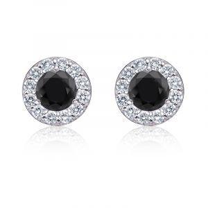 Black Diamond 2ct. t.w. Halo Stud Earrings in 14k White Gold
