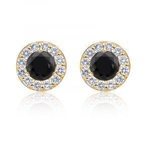 Black Diamond 2ct. t.w. Halo Stud Earrings in 14k Yellow Gold