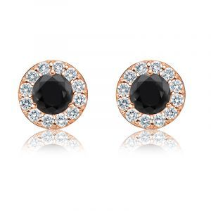 Black & White 1ct. Diamond Halo Stud Earrings in 14k Rose Gold